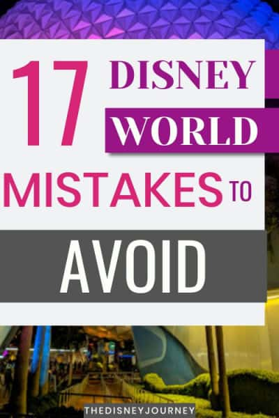 Disney World Mistakes to avoid pin image