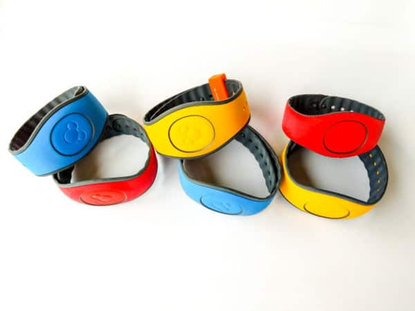 Disney MagicBands in red, blue and yellow