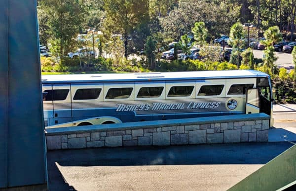 Disney's Magical Express bus parked at Wilderness Lodge