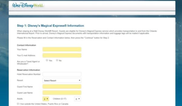 Screenshot of Disney Magical Express online form
