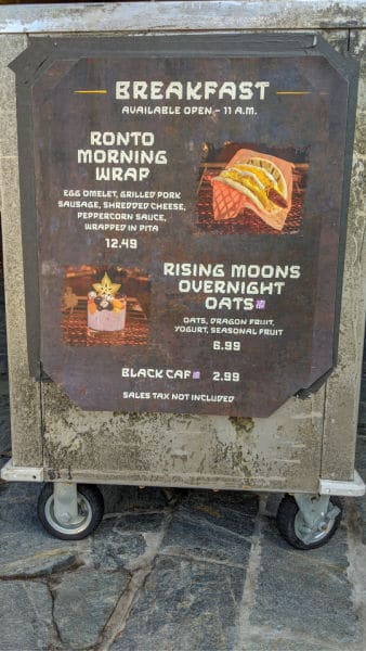 Ronto Roasters Breakfast menu sign at restaurant