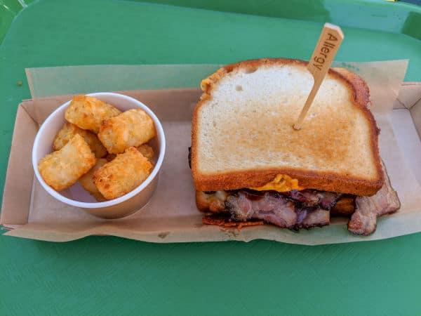 Gluten free bbq brisket melt at Woody's Lunch Box