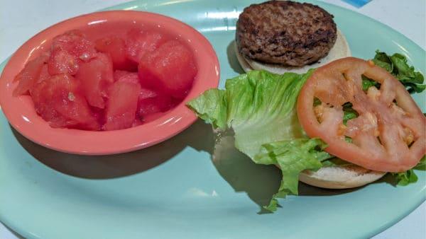 Disney Beaches and Cream kids' meal - hamburger and watermelon