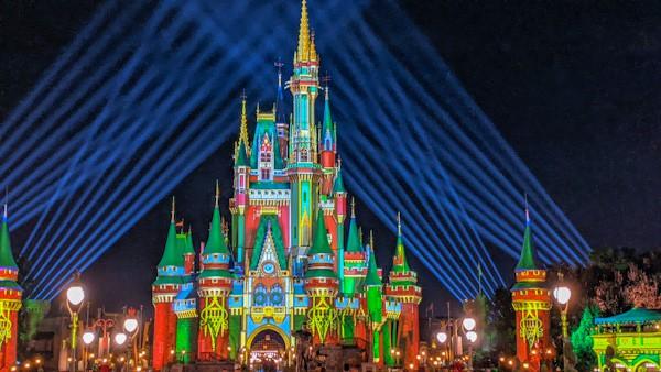 Magic Kingdom Christmas projections on Cinderella's Castle