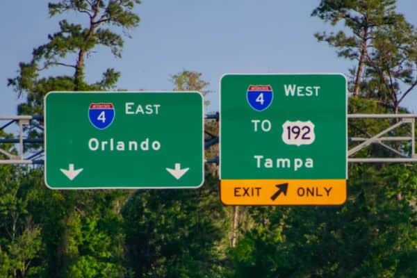Orlando highway road signs